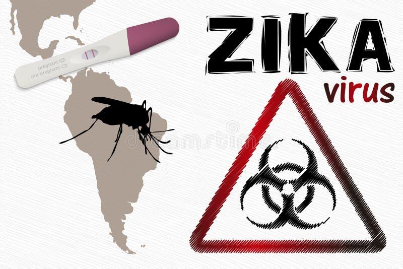 Zika wirusa ostrzeżenie royalty ilustracja