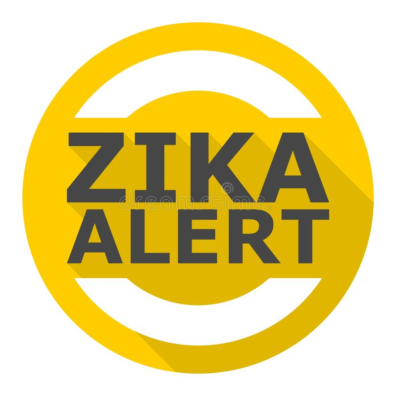 Zika wirusa ostrzeżenie, ikona z długim cieniem royalty ilustracja