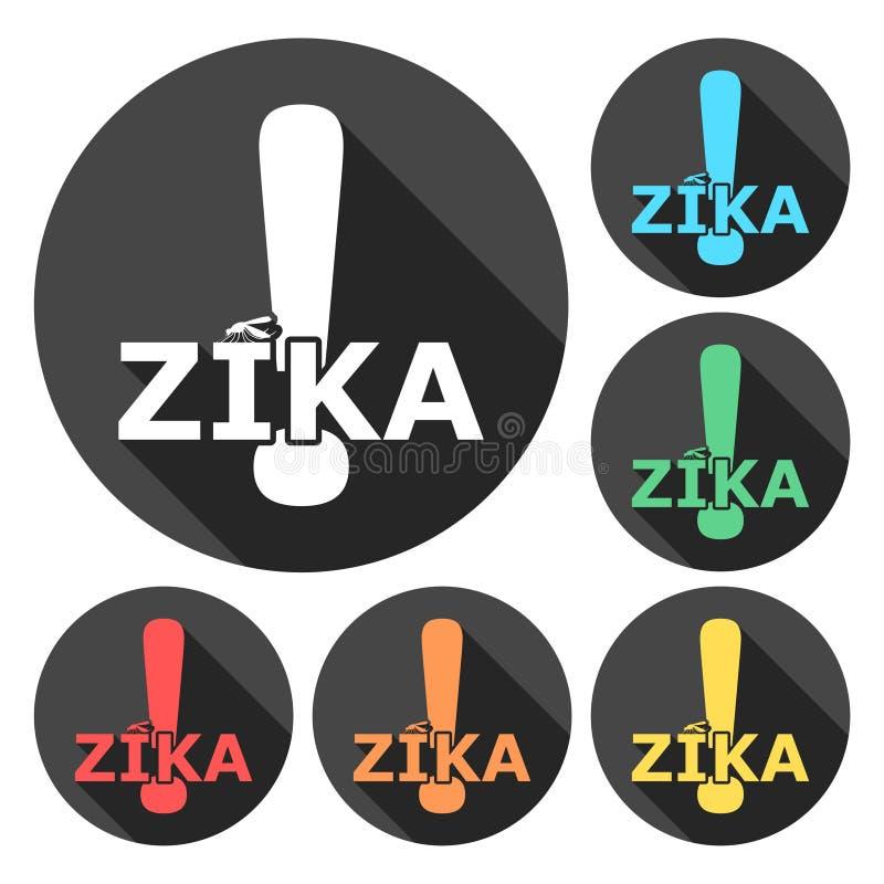 Zika wirusa ostrzeżenie, ikony ustawiać z długim cieniem ilustracji