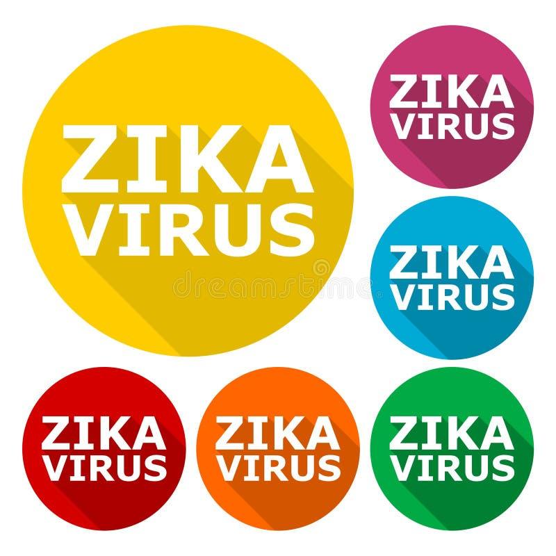 Zika wirusa ostrzeżenie, ikony ustawiać z długim cieniem royalty ilustracja