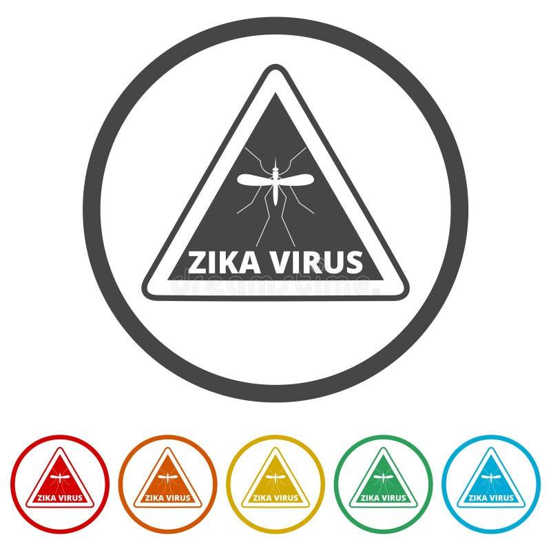 Zika wirusa ostrzeżenie, 6 kolorów Zawierać ilustracja wektor