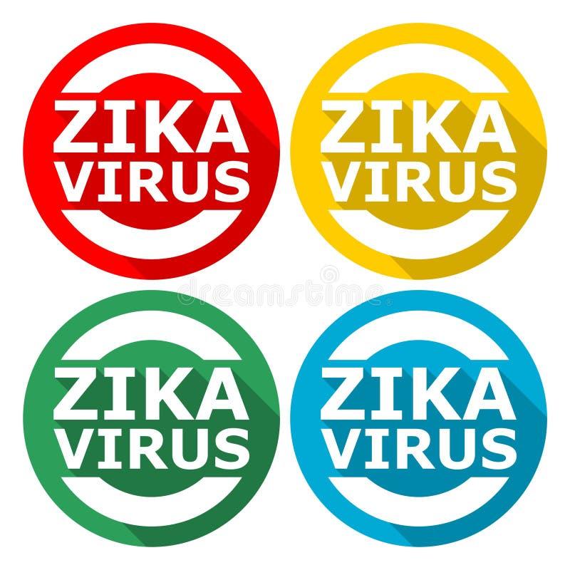 Zika wirusa ostrzeżenie, 4 koloru Zawierać royalty ilustracja
