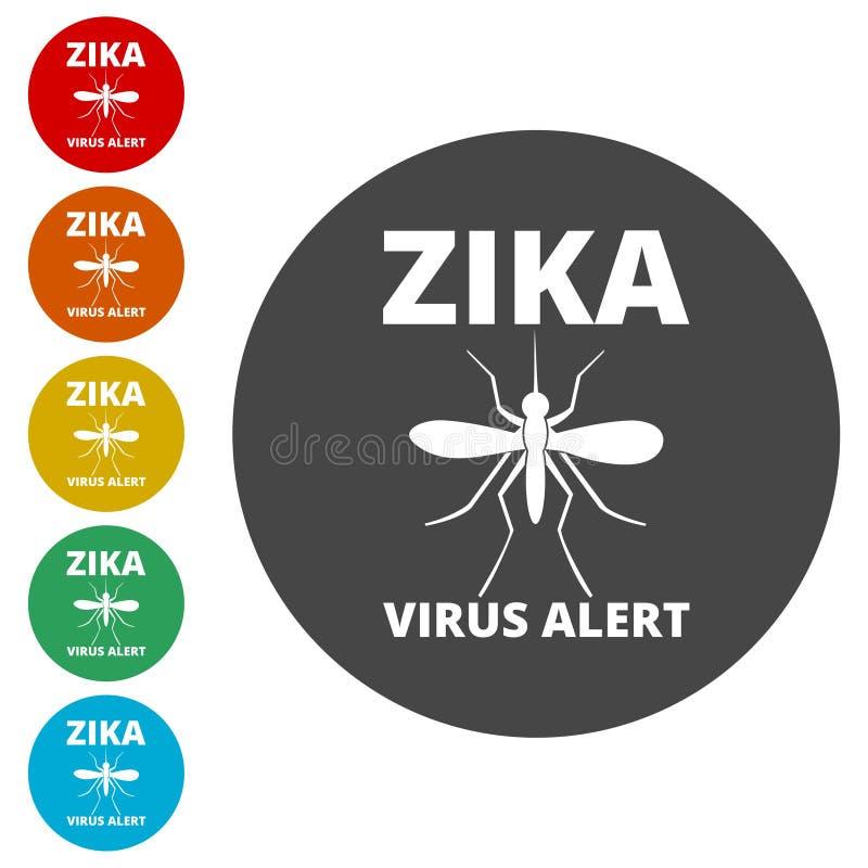Zika wirusowe ikony ustawiać ilustracja wektor