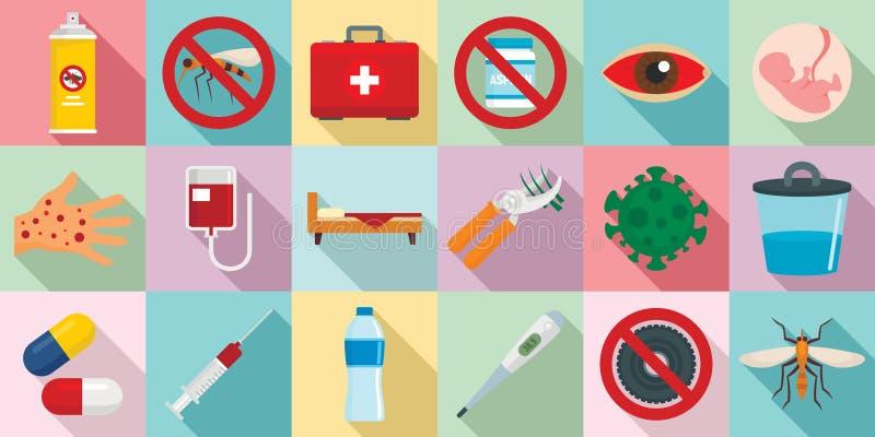 Zika wirusowe ikony ustawiać, mieszkanie styl ilustracja wektor