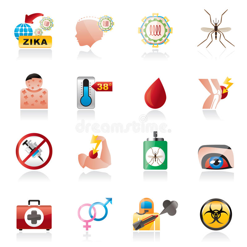 Zika Wirusowe pandemiczne ikony royalty ilustracja