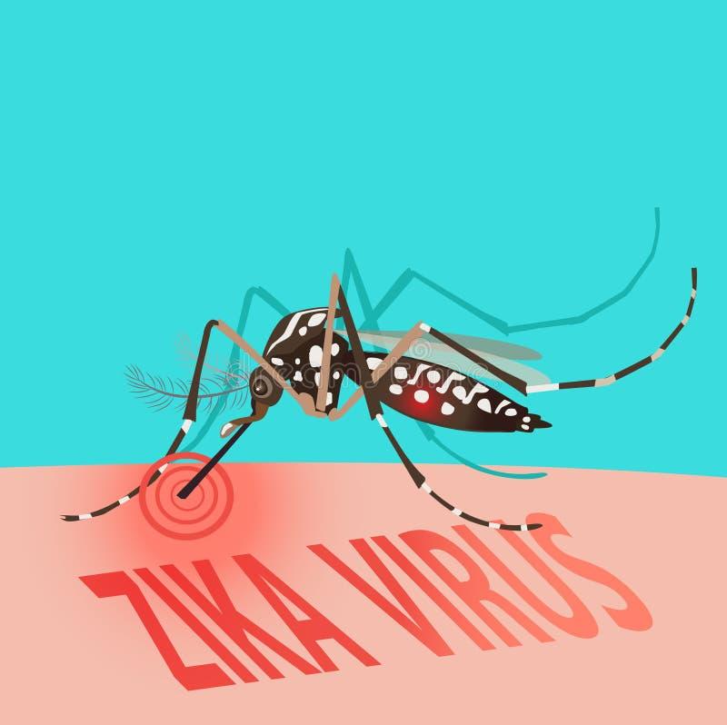 Zika wybuchu ostrzeżenia Wirusowy pojęcie komara wyssać krew ilustracji