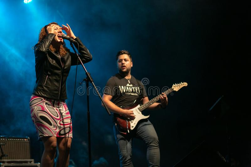 Zilele culturale Agnita, Agnita, Sibiu, Romania - August 05, 2018: Concert in the town Agnita with the Band HARMONY, captured the stock photo