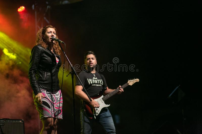 Zilele culturale Agnita, Agnita, Sibiu, Romania - August 05, 2018: Concert in the town Agnita with the Band HARMONY, captured the royalty free stock photos