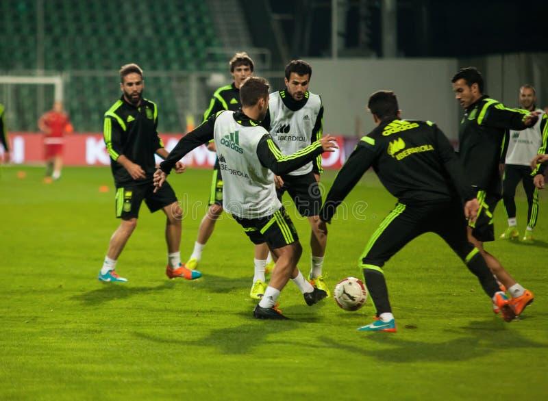 ZILINA, SLOVACCHIA - 8 OTTOBRE 2014: Giocatori di squadra nazionale della Spagna immagine stock libera da diritti