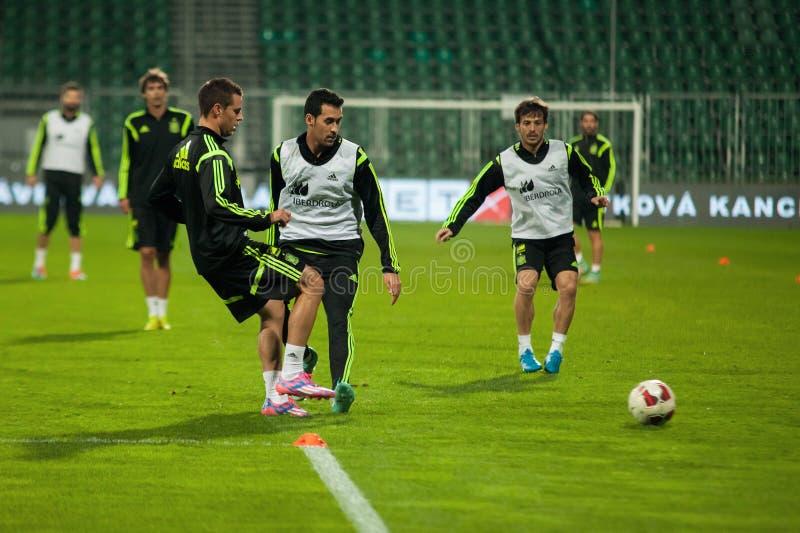 ZILINA, SLOVACCHIA - 8 OTTOBRE 2014: Giocatori di squadra nazionale della Spagna fotografie stock libere da diritti