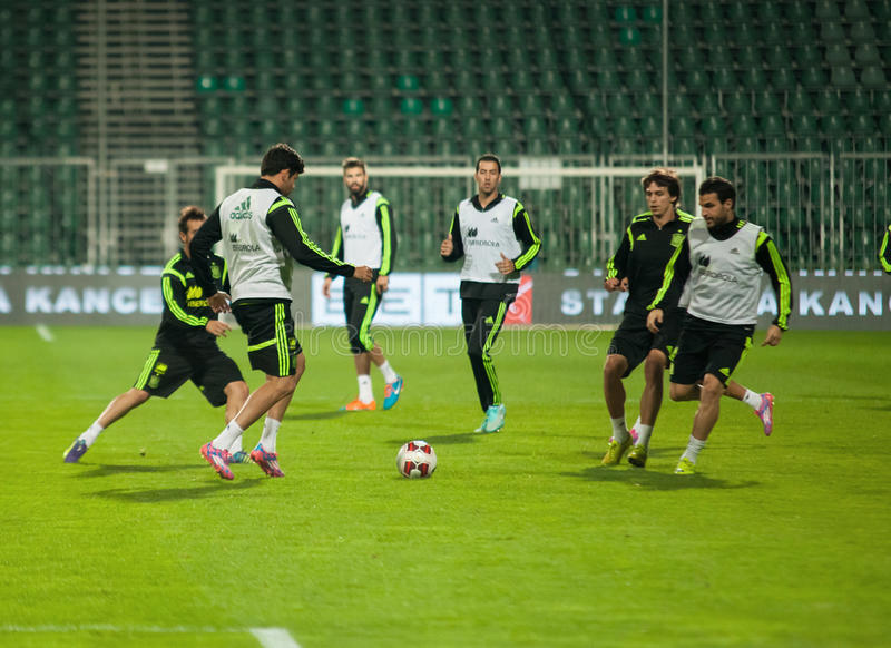 ZILINA, SLOVAKIA - OCTOBER 8, 2014: Spain national team players. Take part in a training session ahead of their UEFA EURO 2016 qualifier against Slovakia stock photography