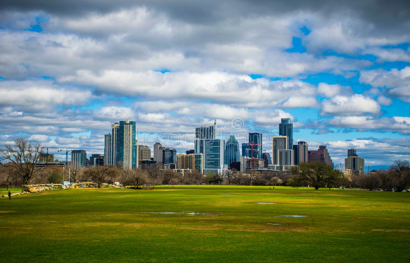 Download Zilker Park Austin Texas Dramatic Patchy Clouds Early Spring 2016 Skyline View Stock Photo - Image: 67175049