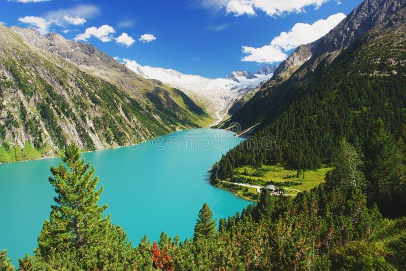 Zillertal, Austrian Alps. View of the alpine lake in the valley Zillertal, Austrian Alps stock images