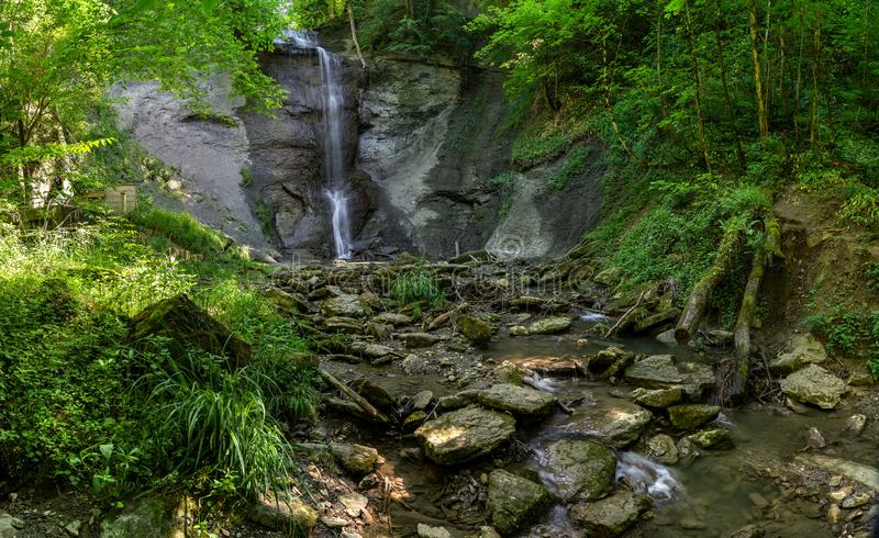 Waterfall of Zillhausen - Panorama with stony creek bed royalty free stock photos
