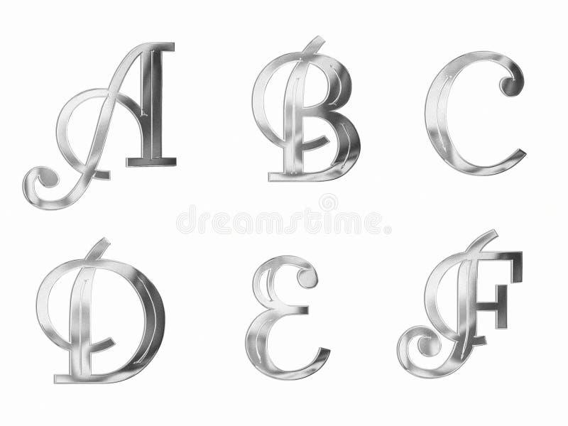 Zilver 1 van Hoofdletters vector illustratie