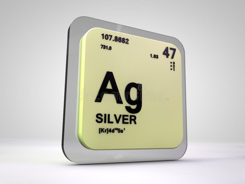Zilver - Ag - chemische elementen periodieke lijst stock illustratie