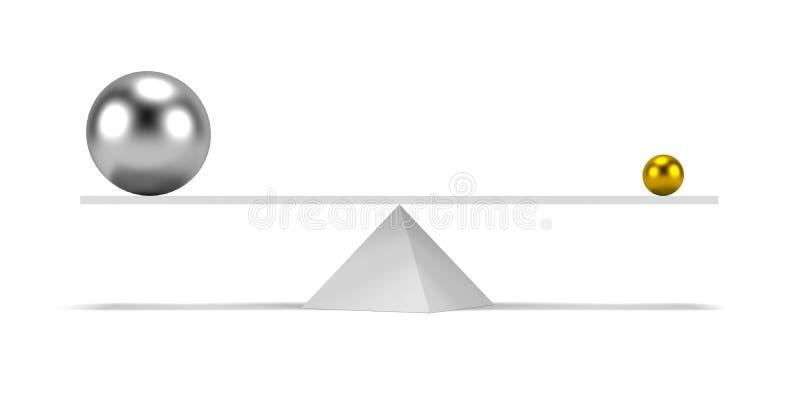 Zilver en goud op de schalen vector illustratie