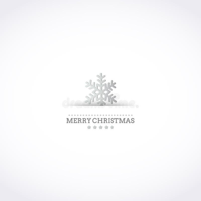 Zilver gestileerde Kerstkaart met sneeuwvlok stock illustratie