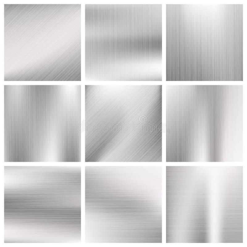 Zilver, staal, titanium, de geborstelde texturen van het aluminiummetaal vector vector illustratie