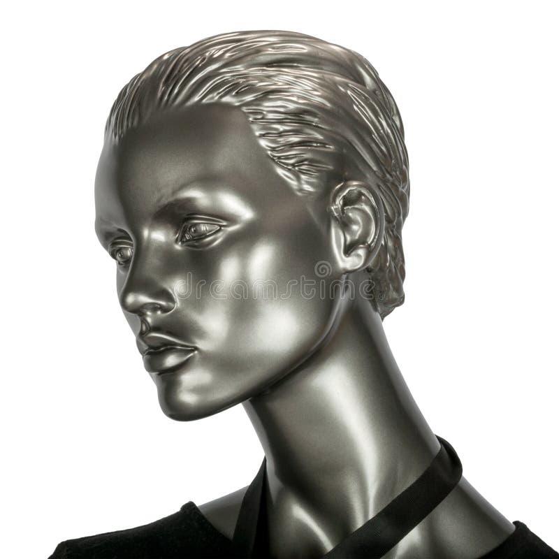 Zilverachtig plastic hoofd van vrouwelijke modellen met schouders royalty-vrije stock foto's