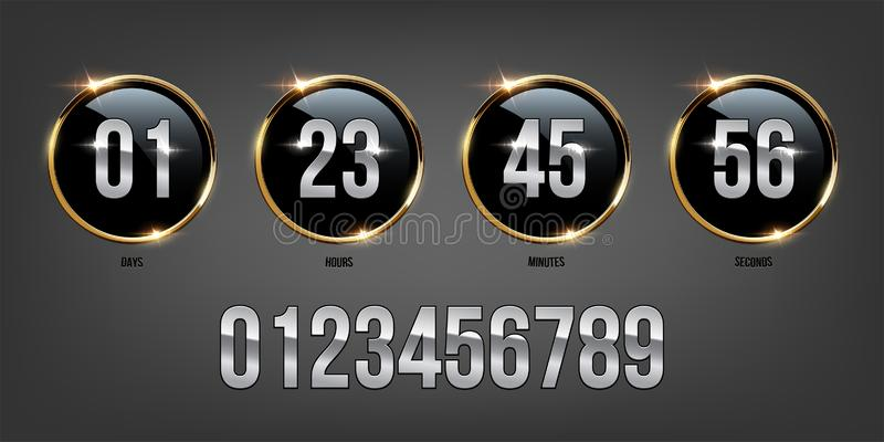 Zilveren aantallen binnen gouden ringen op donkere achtergrond Vectorluxeteller royalty-vrije illustratie