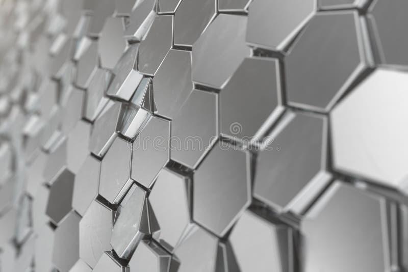 Zilveren abstracte hexagonale achtergrond met diepte van gebiedseffect Structuur van een groot aantal zeshoeken staal royalty-vrije illustratie
