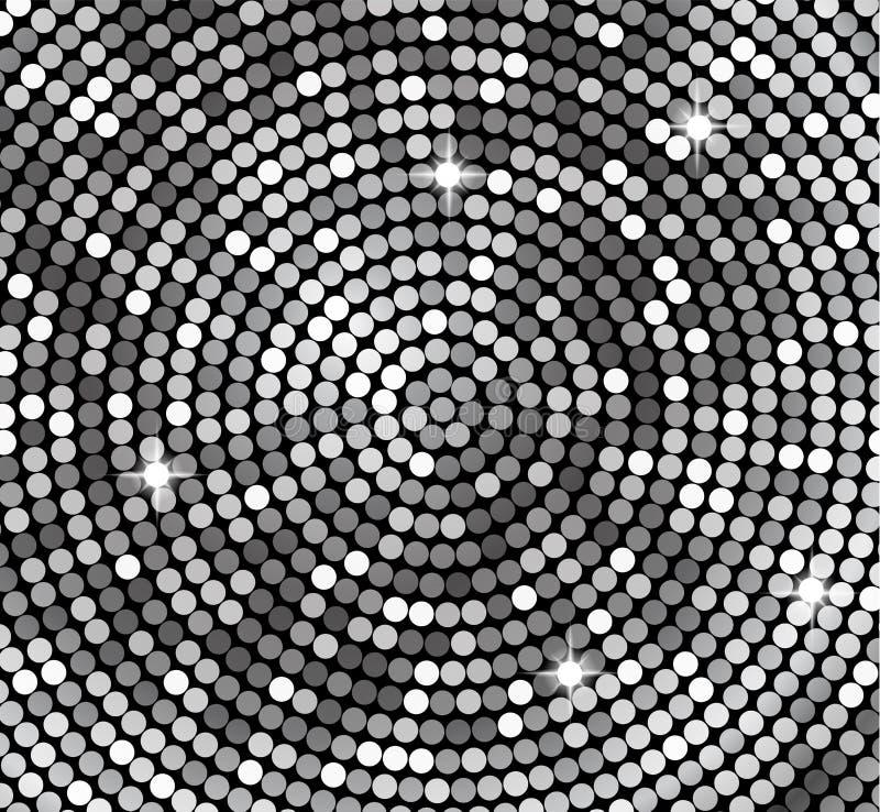 Zilveren achtergrond, vector Glanzend mozaïek in de stijl van de discobal De vector zilveren disco steekt achtergrond aan abstrac royalty-vrije illustratie