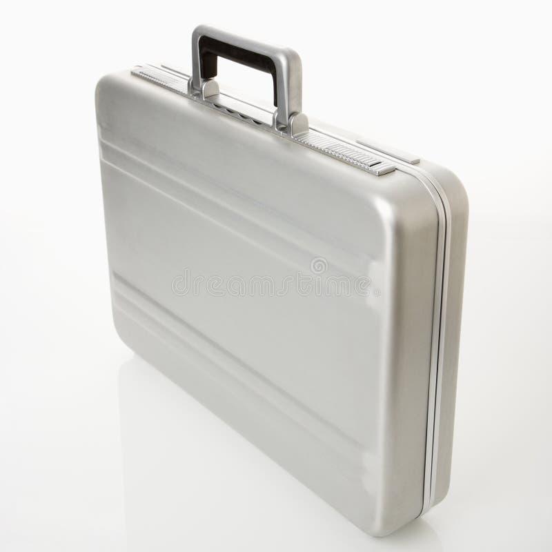 Zilveren aktentas. stock foto