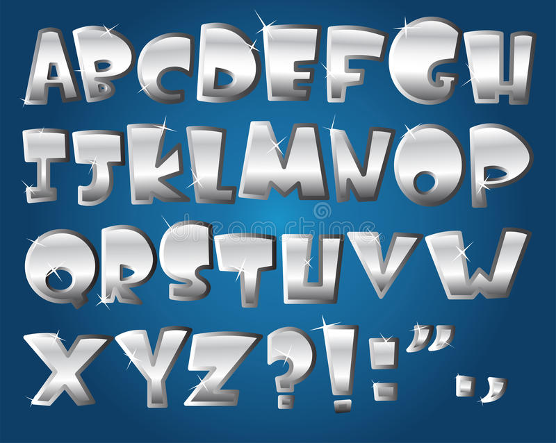 Zilveren alfabet royalty-vrije illustratie