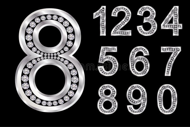 Zilveren alfabet met diamanten, brieven van A aan Z vector illustratie