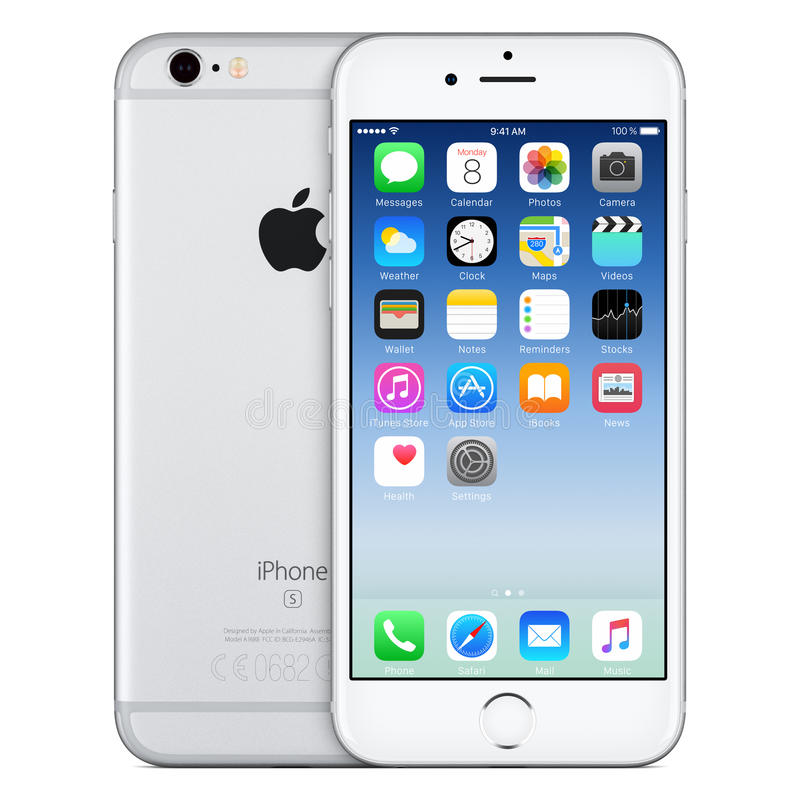 Zilveren Apple-iPhone6s vooraanzicht met iOS 9 op het scherm stock fotografie