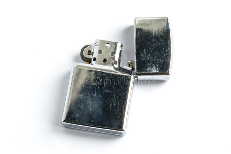 Zilveren benzineaansteker stock afbeelding