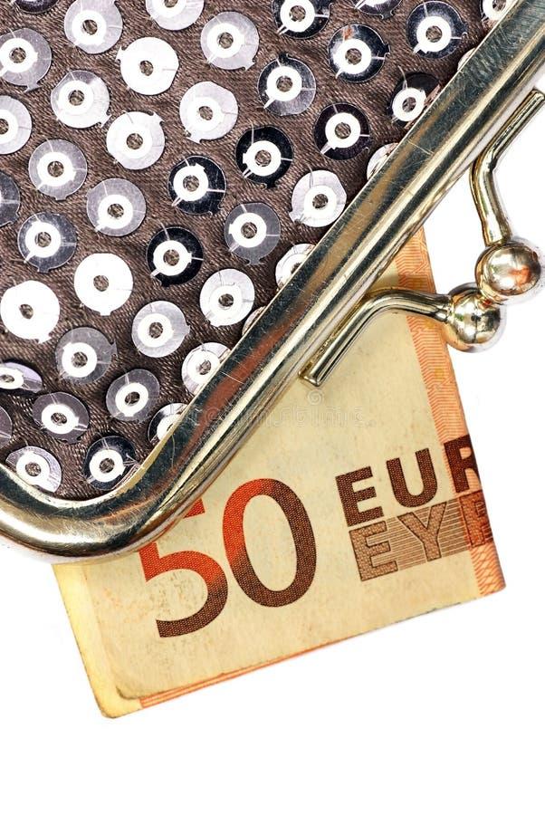 Zilveren Beurs met vijftig euro royalty-vrije stock foto's