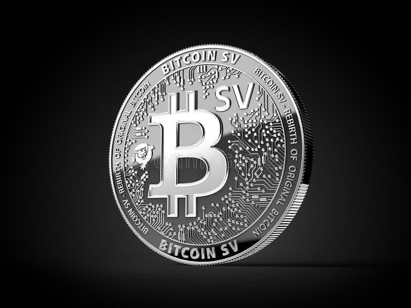 Zilveren Bitcoin Satoshi Vision Bitcoin SV of BSV-muntstuk van het cryptocurrency het fysieke die concept op zwarte achtergrond w royalty-vrije illustratie