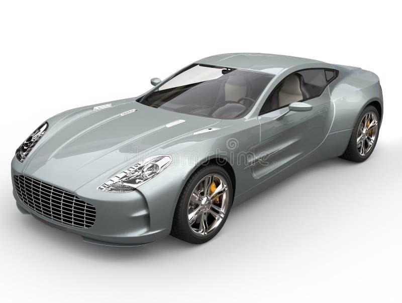 Zilveren blauwe sportwagen - close-upschot royalty-vrije stock afbeelding