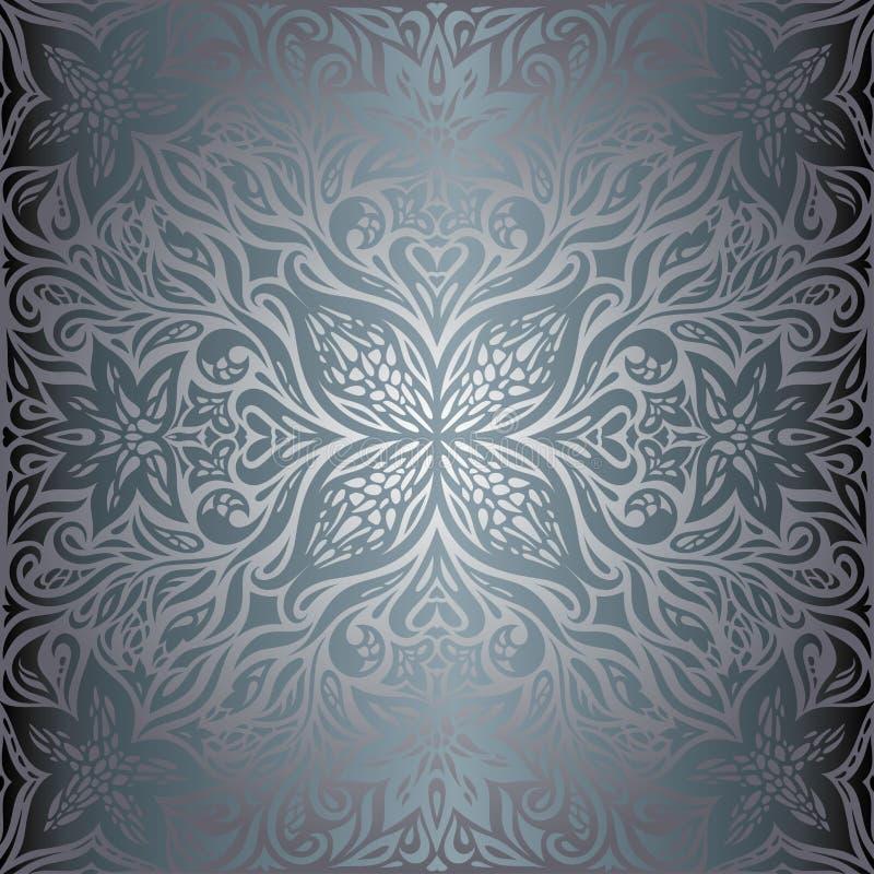 Zilveren Bloemen, het Bloemen glanzende decoratieve uitstekende ontwerp behang van Achtergrond in maniermandala royalty-vrije illustratie