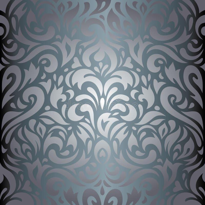 Zilveren bloemen van het luxe uitstekend behang ontwerp als achtergrond stock illustratie