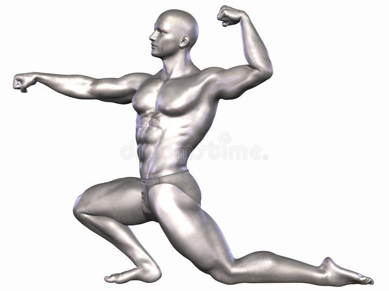 Zilveren Bodybuilder stock illustratie