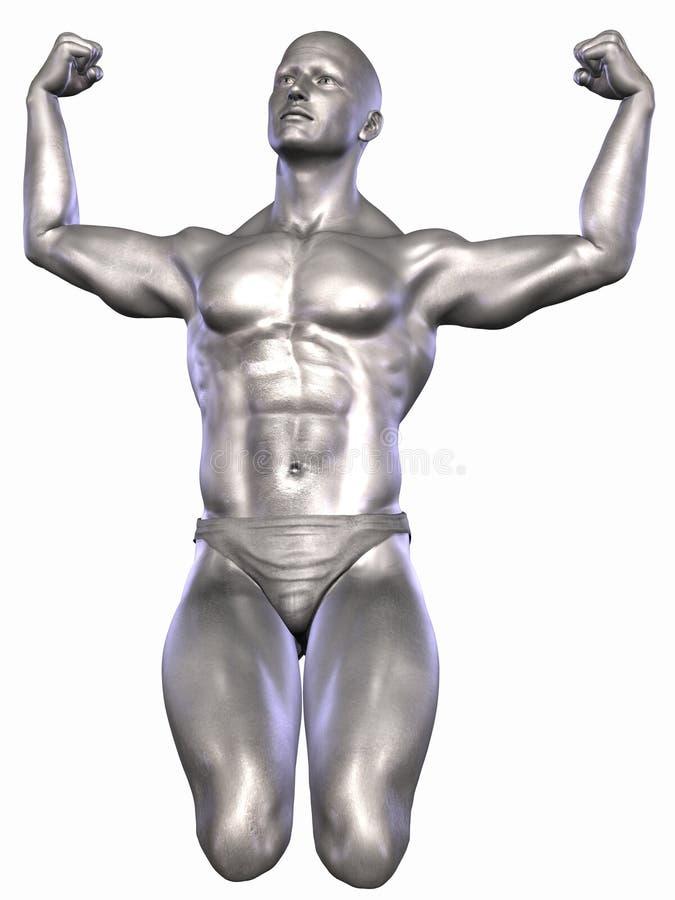 Zilveren Bodybuilder royalty-vrije illustratie
