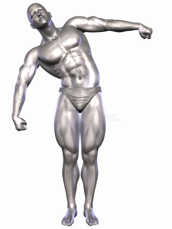 Zilveren Bodybuilder vector illustratie
