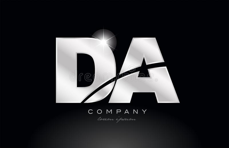 zilveren brief DA D een alfabet van de metaalcombinatie met grijze kleur op zwart embleem als achtergrond royalty-vrije illustratie