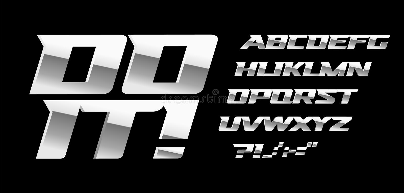 Zilveren brieven en symbolen die op zwarte achtergrond worden geplaatst Het vector Latijnse alfabet van de metaalstijl Doopvont v stock illustratie
