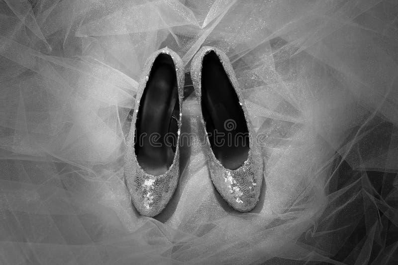 Zilveren bruiloftschoenen royalty-vrije stock foto