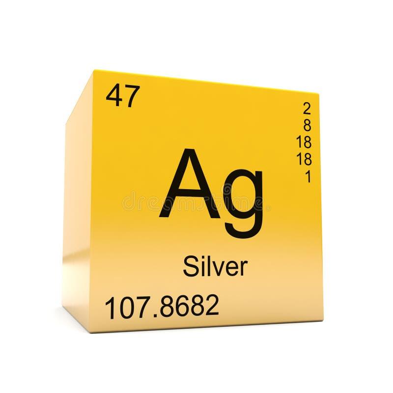 Zilveren chemisch elementensymbool van periodieke lijst royalty-vrije illustratie