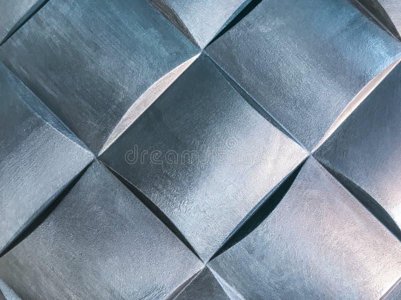 Zilveren 3D binnenlands decoratief muurpaneel met ongebruikelijke geometrische vorm stock fotografie