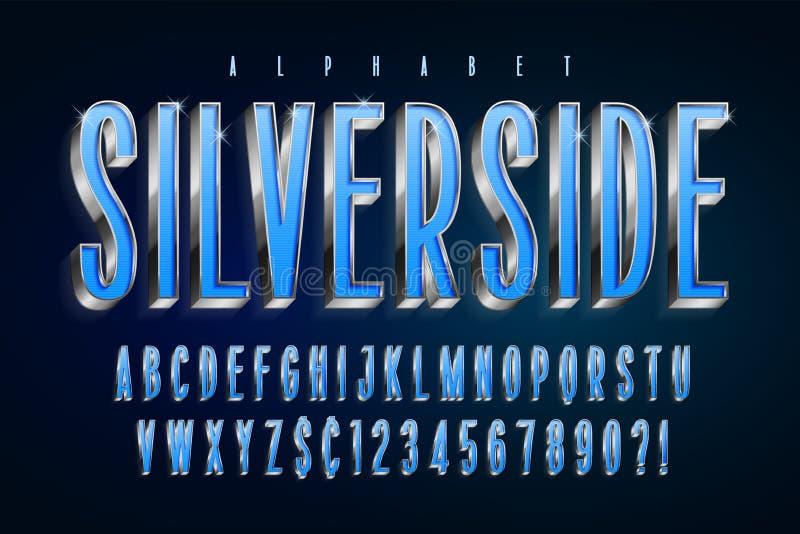 Zilveren 3d glanzende doopvont, gouden letters en getallen vector illustratie