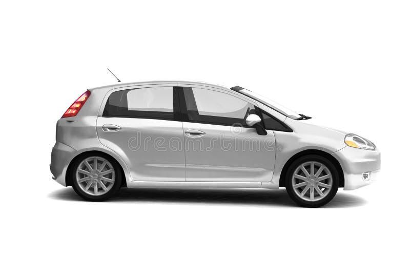 Zilveren de auto zijaanzicht van de vijfdeursauto stock illustratie