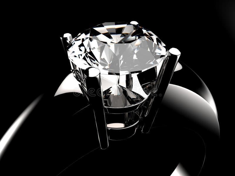Zilveren de ringsclose-up van de diamantsteen stock afbeelding