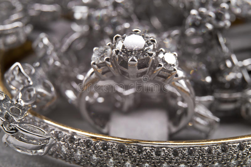 Zilveren Diamond Jewelry Collection royalty-vrije stock fotografie