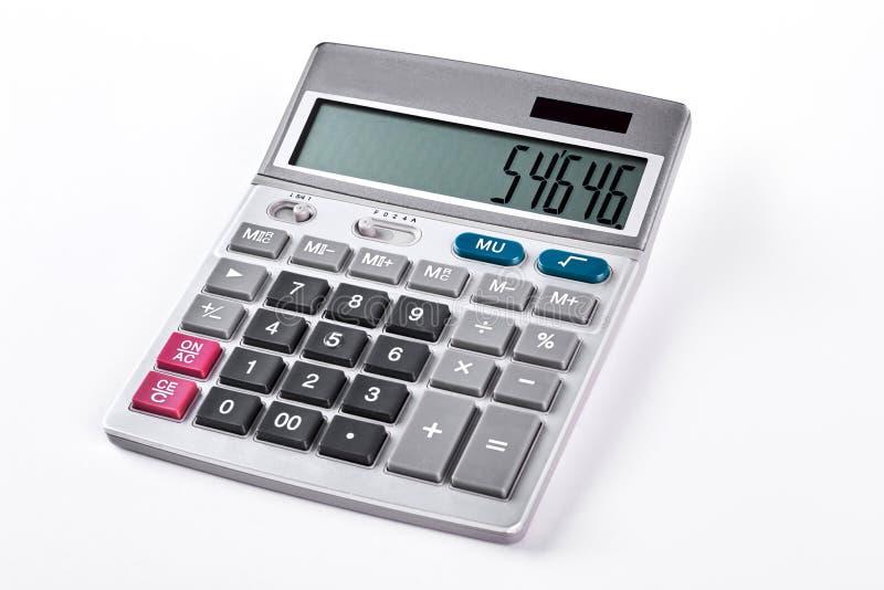 Zilveren die calculator op witte achtergrond wordt geïsoleerd stock afbeelding